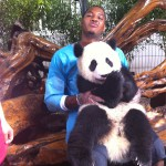 Carmelo Anthony and his panda friend