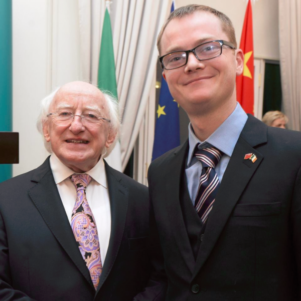 President of Ireland Higgins (left) & ETP Co-founder Shane O'Neill (right)